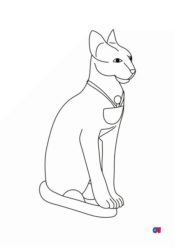 Coloriage Egypte ancienne - Le chat sacré