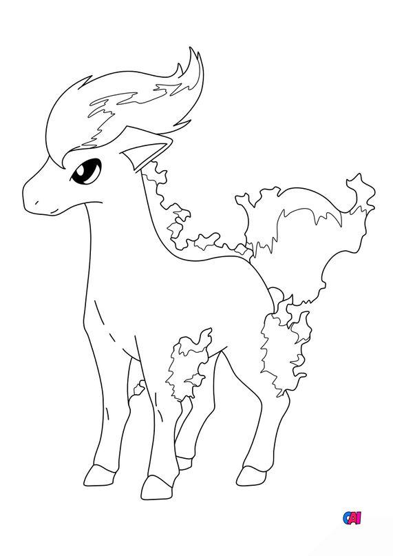 Coloriage Pokémon - 77 - Ponyta