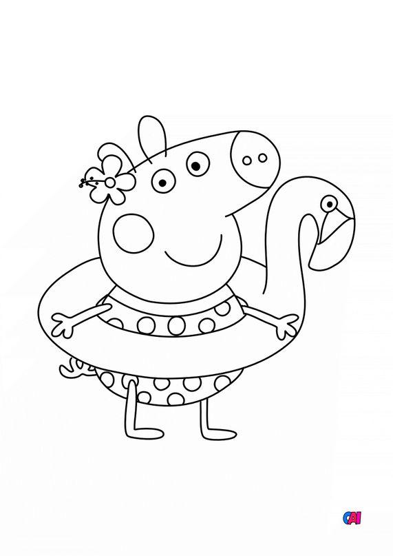 Coloriage Peppa Pig - Peppa et sa bouée