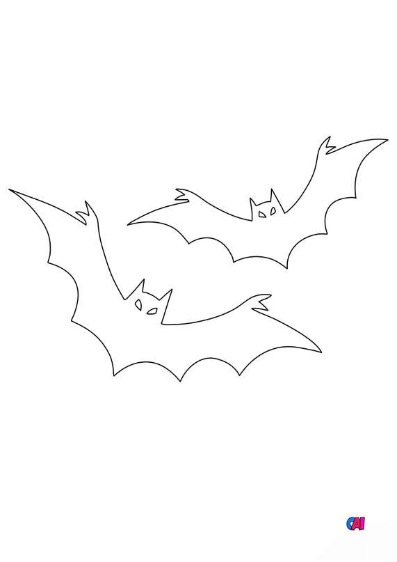 Coloriages Halloween - Deux Chauves-souris