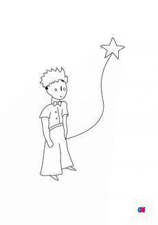 Coloriage Le petit prince et son étoile
