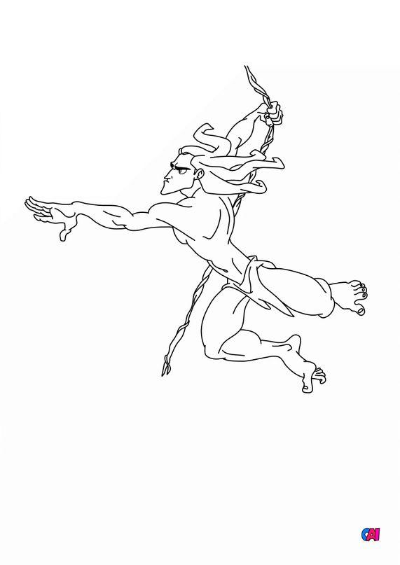 Coloriage de Tarzan - Tarzan sur sa liane