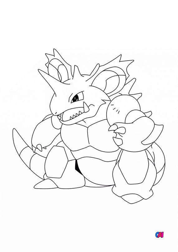 Coloriage Pokémon - 34 — Nidoking