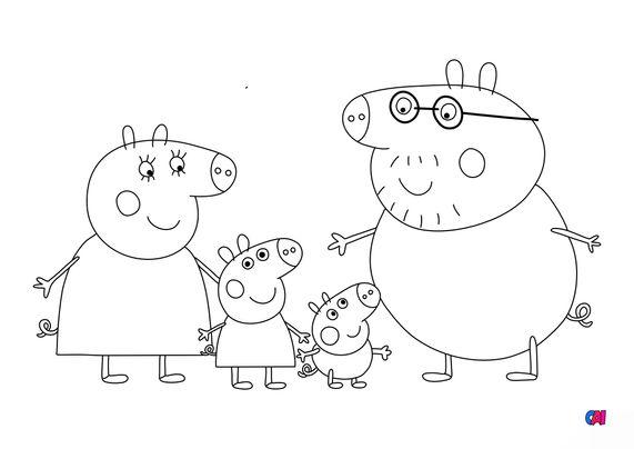 Coloriage Peppa Pig - Peppa et sa famille