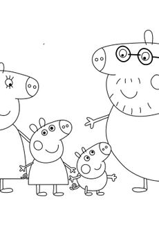 Coloriage Peppa et sa famille