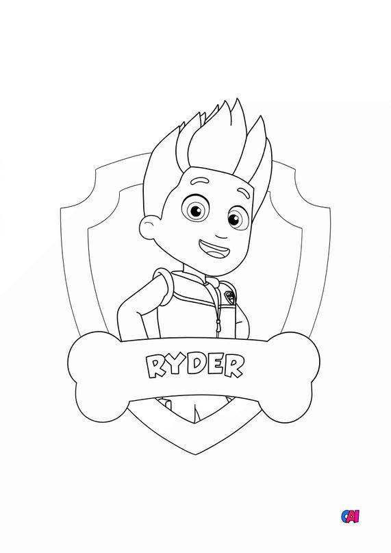 Coloriage Pat Patrouille - Ryder badge