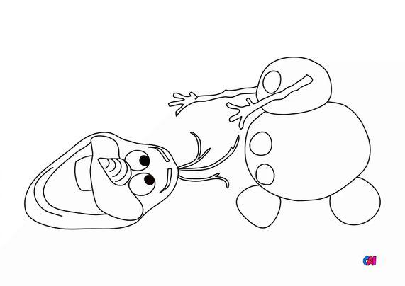 Coloriage la reine des neiges - Olaf perd la tête
