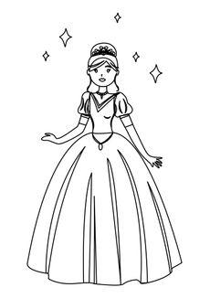 Coloriage princesse et étoiles