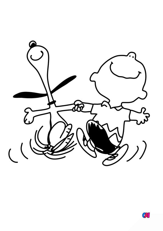 Coloriage Snoopy - Snoopy et Charlie Brown sont heureux !
