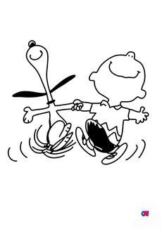 Coloriage Snoopy et Charlie Brown sont heureux !