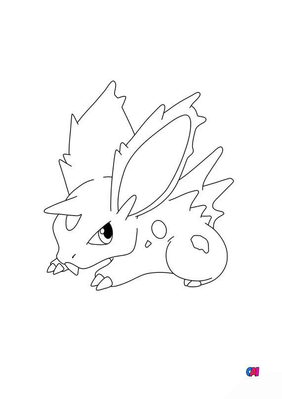 Coloriage Pokémon - 32 - Nidoran Homme