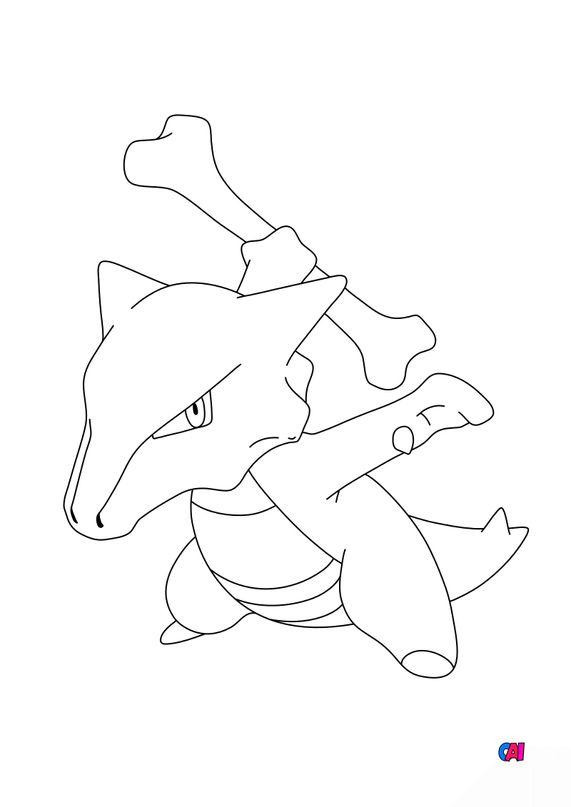 Coloriage Pokémon - 105 - Ossatueur