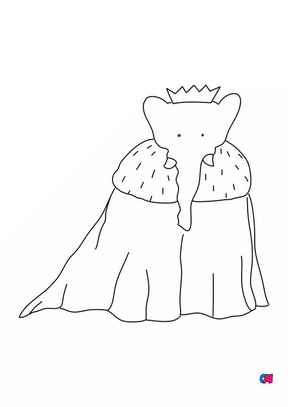 Coloriage Babar - Le couronnement de Babar