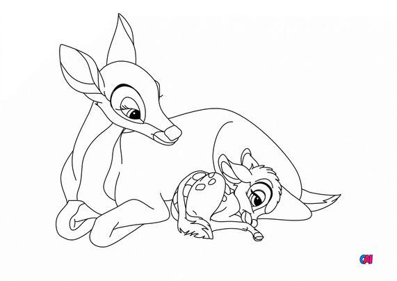 Coloriage Bambi - Bambi et sa maman