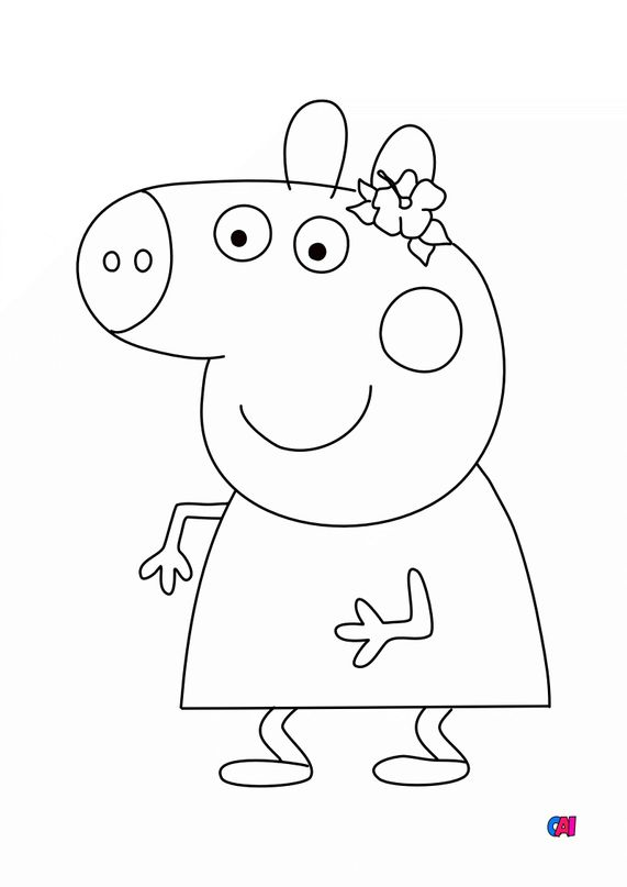Coloriage Peppa Pig - Peppa sourit