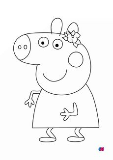 Coloriage Peppa sourit