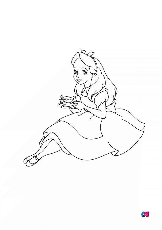 Coloriage Alice au pays des merveilles - Alice et son thé