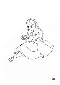 Coloriage Alice et son thé