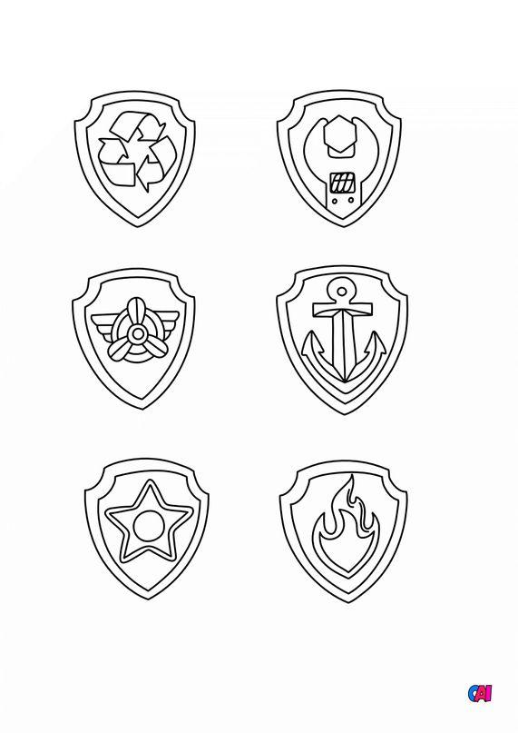 Coloriage Pat Patrouille - Les badges de la Pat Patrouille