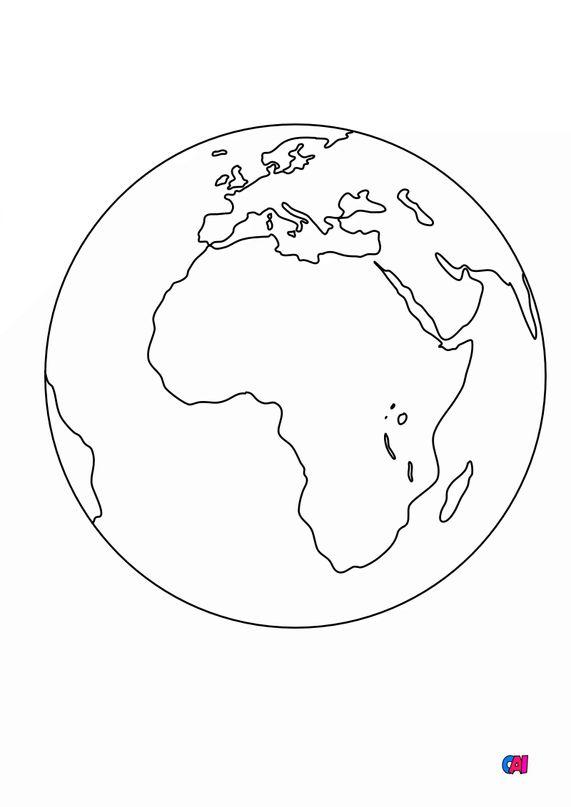 Coloriage d'Astronomie - La Terre