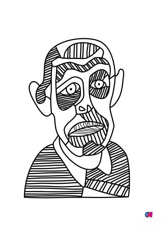 Coloriages de bâtiment et d'oeuvres d'art - Autoportrait - Jean Dubuffet