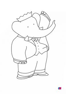 Coloriage Babar saluant