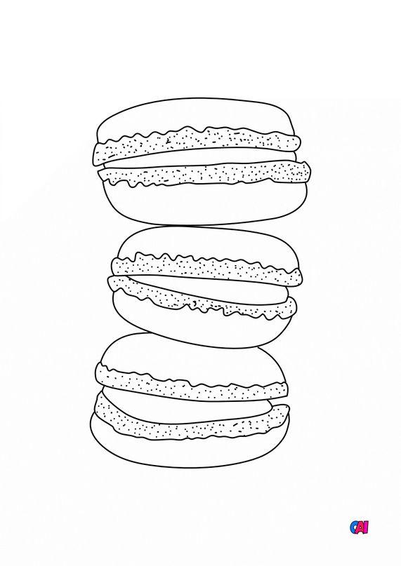 Coloriage gastronomie - Macaron
