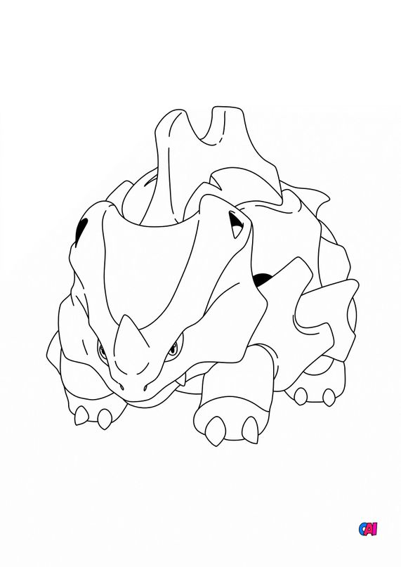 Coloriage Pokémon - 111 - Rhinocorne