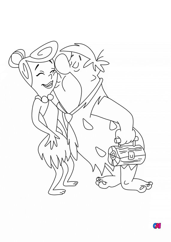 Coloriage La famille Pierrafeu - Fred embrasse Wilma