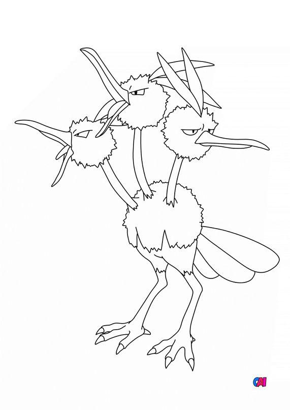 Coloriage Pokémon - 85 - Dodrio