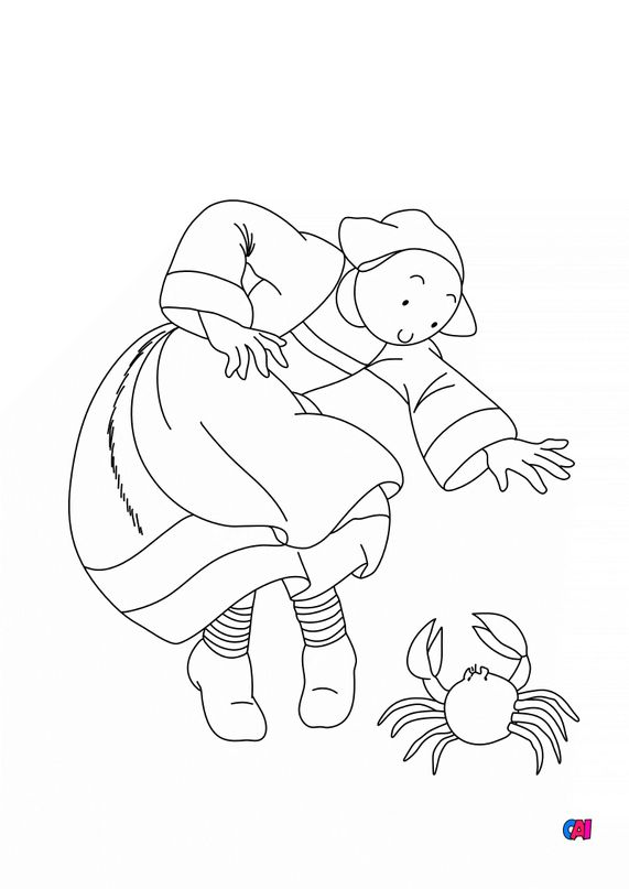 Coloriage Bécassine - Bécassine et le crabe
