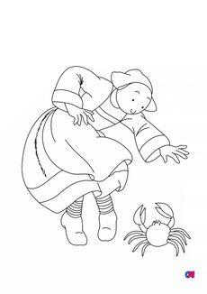 Coloriage Bécassine et le crabe