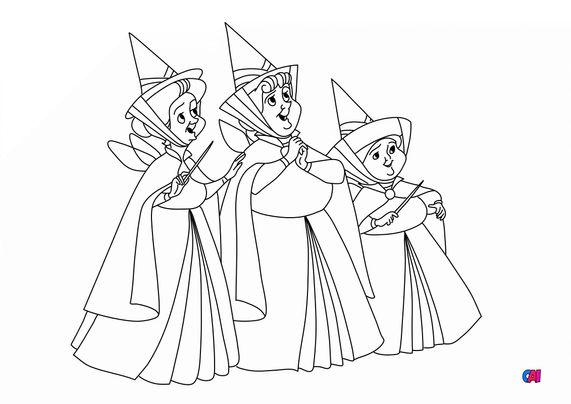 Coloriage La belle au bois dormant - Les trois fées
