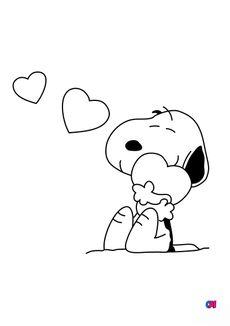 Coloriage Snoopy et 3 coeurs