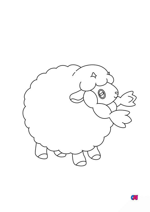 Coloriage Pokémon - 831 - Moumouton