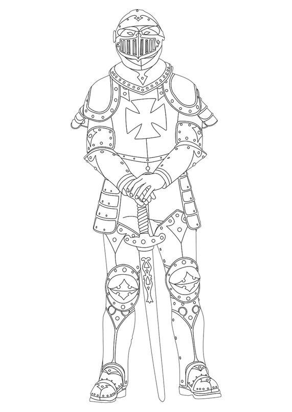 Coloriages de chevalier - Chevalier en armure
