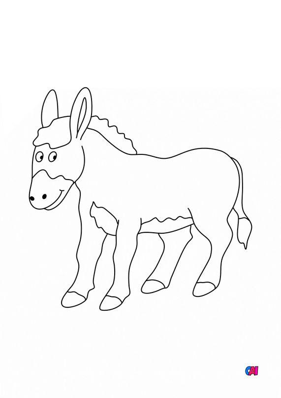 Coloriages d'animaux - Un âne