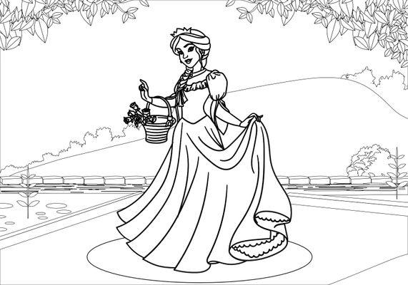 Coloriage de Princesses - La princesse et ses roses