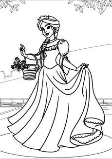 Coloriage La princesse et ses roses