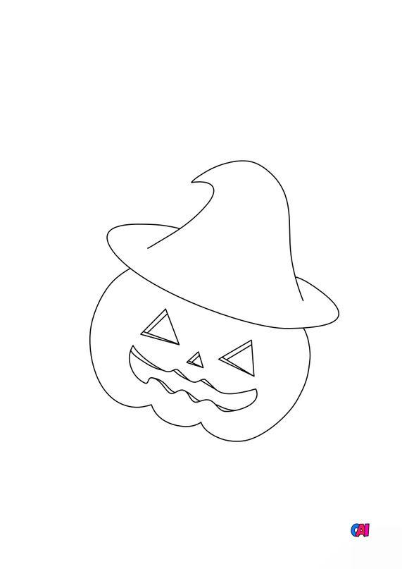 Coloriages Halloween - Citrouille et chapeau