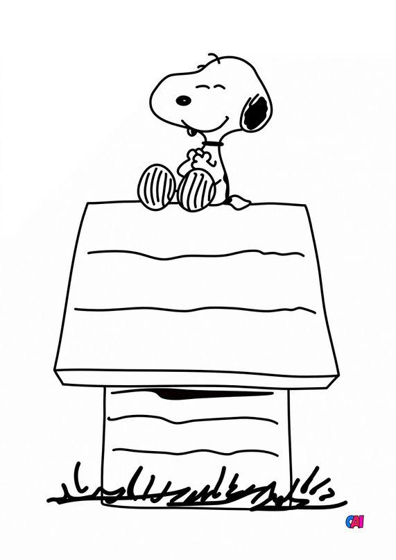 Coloriage Snoopy - Snoopy sur sa niche