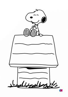 Coloriage Snoopy sur sa niche