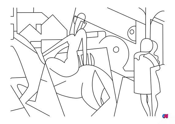 Coloriages de bâtiment et d'oeuvres d'art - L'ecuyere - Magritte