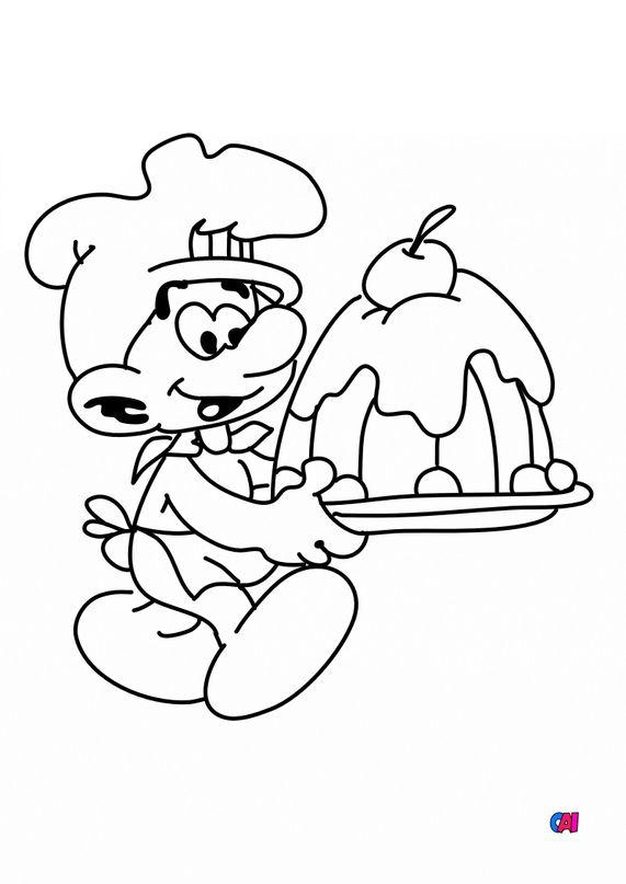 Coloriage Schtroumpfs - Schtroumpf cuisinier