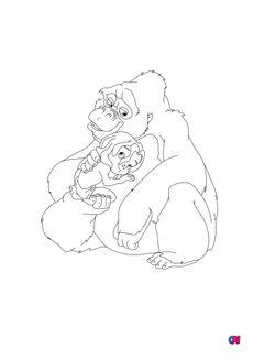 Coloriage Tarzan et le gorille