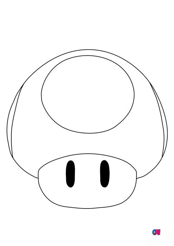 Coloriage Mario - Champignon