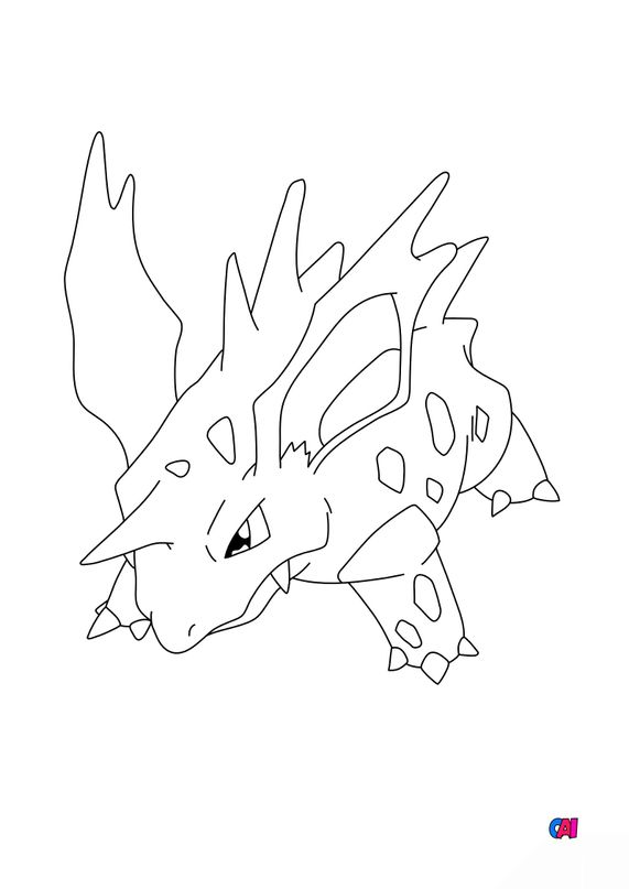 Coloriage Pokémon - 33 - Nidorino