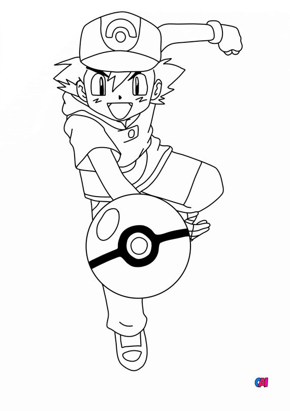 Coloriage Pokémon - Sacha