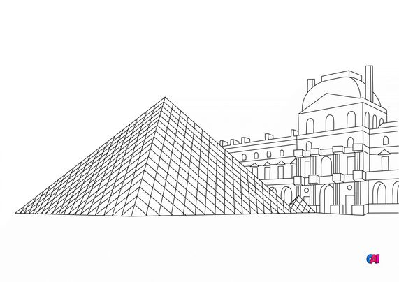 Coloriages de bâtiment et d'oeuvres d'art - La Pyramide du Louvre