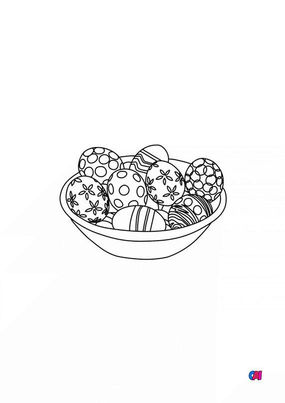 Coloriage Pâques - Oeufs de Pâques décorés